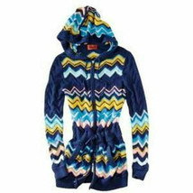 Missoni Knit Long Hoodie Sweater Jacket w/ pockets Blue VIA Chevron Medi... - $84.95