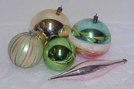 5 Vintage LARGE Glass Christmas Ornaments - Poland, W Germany, Japan - $12.99