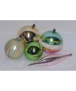 5 Vintage LARGE Glass Christmas Ornaments - Poland, W Germany, Japan - $12.99