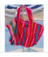 Destination Jumbo Beach Bag Tote Terry Cloth Purse Stripped Pink Large C... - $17.81