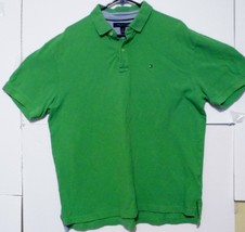 Tommy Hilfiger Mens Green Short Sleeve Polo Size XL Cotton - $14.66