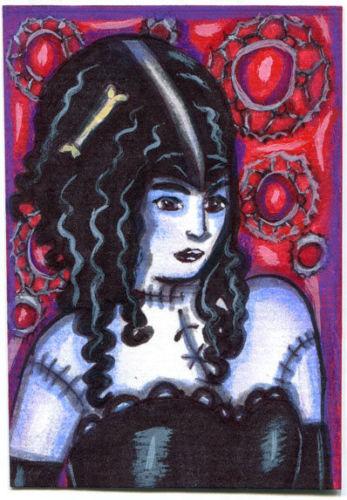 monster girl woman original aceo art drawing zombie undead modern goth horror mi