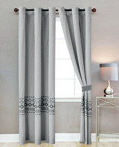 4P Tobey Southwest Diamond Square Embroidery Curtain Set Gray Silver Sheer Liner - $40.89