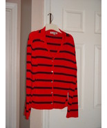 Carolyn Taylor Red With Black Striped Sweater Size L - $22.95