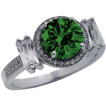 3.46CT Unique One Of A kind Emerald Round Cut Sapphire Ring 14K WG Plate... - $178.18
