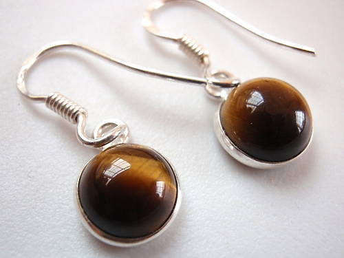 Primary image for New Basic Round Tiger Eye Silver Dangle Earrings India