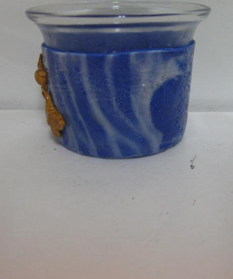 Blueand Translucent Polymer Clay Butterfly Votive Holder