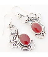 Red Onyx Solid 925 Sterling Silver Peacock Earrings, Handmade Jewelry fo... - $27.99
