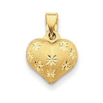14K YELLOW GOLD SMALL SATIN & DIAMOND-CUT 3-D PUFFED HEART PENDANT/CHARM - $37.69