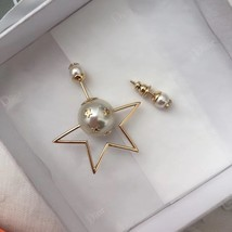 """Authentic Christian Dior Tribal Earrings """"DIOR TRIBALES"""" Crystal Star Gold image 3"""