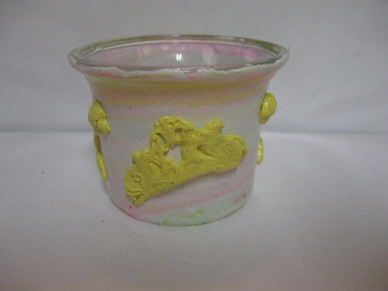 White and Yellow Fashion Polymer Clay Flower Votive Holder