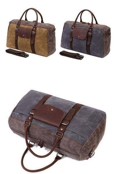 Sale, Military Duffel Bag ,Travel Bag, Canvas with Leather Duffel Bag, Men's Tra image 3