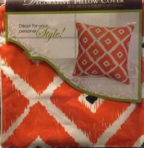 "Decoratve Pillow Cover 18"" x 18"" Orange White Black Fall Style Cotton (2... - $22.26"