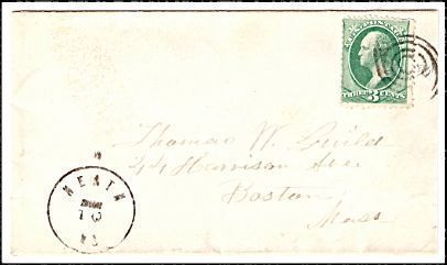 Primary image for c1875 Heath MA Defunct Post Office (DPO) Cover