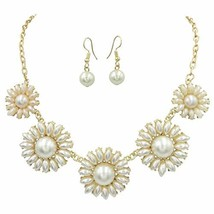 Gypsy Jewels Colorful 5 Daisy Flower Bubble Gold Tone (Ivory Imitation P... - $29.36
