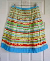 Talbots Festival Skirt 8 Bright Colorful Pleated Lined Spring Summer Cotton - $9.89