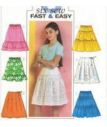 Girls Fast Easy Pleated Tierd Ruffled Gathered Skirts Sew Pattern 7-10 - $11.99
