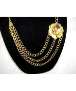 14KG  GOld plated  THREE  STRAND  chain necklac... - $28.99