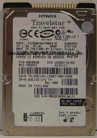 "HGST 30GB Internal 4200RPM 2.5"" 9.5MM IDE 44PIN IC25N030ATMR04-0 HDD"
