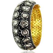 New 14k Gold Pave Rose Cut 5.95ct Diamond Bangle 925 Silver Antique Look... - $3,353.10