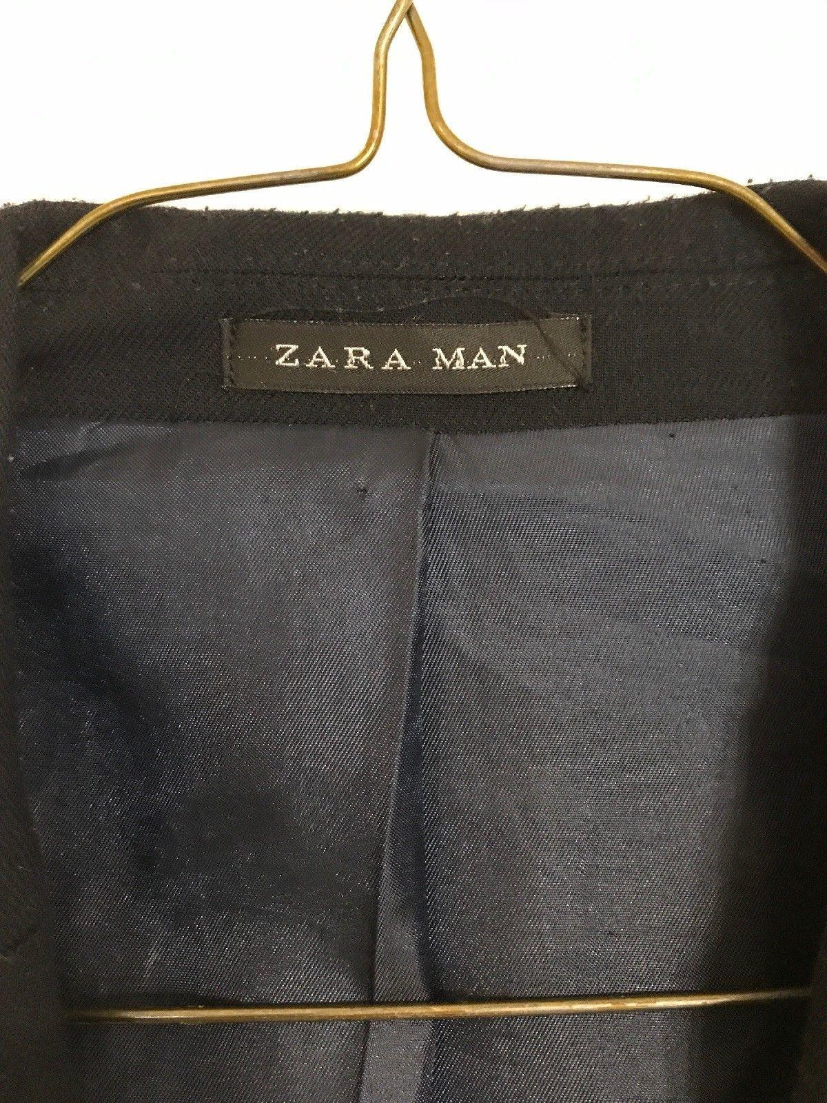 Black Tag by Zara Man Dark Blue Sport Jacket Blazer Brown Elbow Patch 44