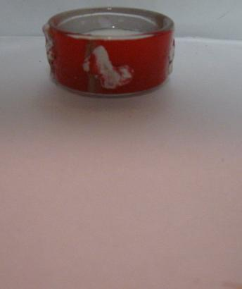 Red, White and Gold Butterfly Polymer Clay Tealite Candle Holder