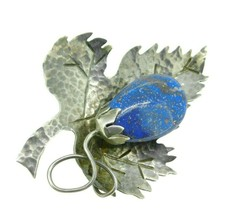 Arts and Crafts Hand Hammered Leaf Brooch with Genuine Natural Lapis (#J... - $295.00