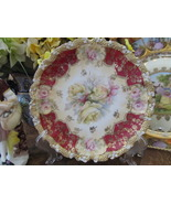 Monbijou Style Cabinet Plate W/ Lavish Rose Floral Design & Gold Enamel ... - $50.00
