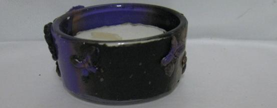 Black, Purple, and Gold Polymer Clay Tealite Holder