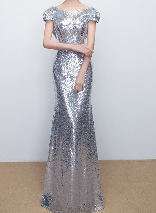 CHAMPAGNE GOLD Short Sleeve Long Sequin Dress Bridesmaid Long Maxi Sequin Dress