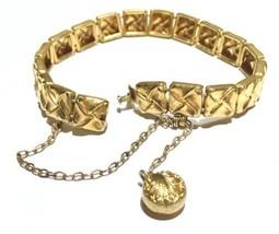 1881 Victorian antique charm fob panel GoldFill bracelet - $220.40