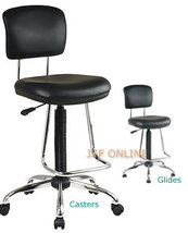 Vinyl/Chrome Teardrop Footrest Drafting Chair Stool w/CASTERS & STATIONA... - $154.99