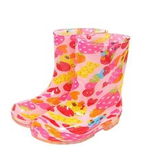 Cute Starry Kids' Rain Boots Pink Strawberry Children Rainy Days Shoes 22CM