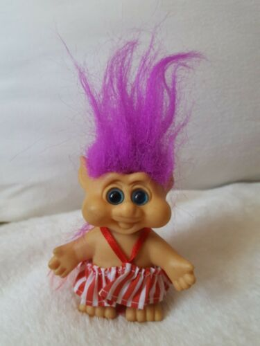 "Primary image for Vintage 1992 ITB Troll Doll 3"" w purple messy hair pre-owned toy some defects"