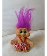 "Vintage 1992 ITB Troll Doll 3"" w purple messy hair pre-owned toy some de... - $24.75"