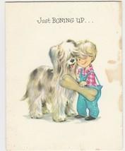Vintage Birthday Card Sheepdog and Boy Just Boning Up 1960's Coronation - $6.92