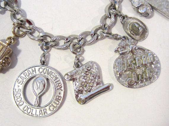 Vintage sterling silver bracelet with 9 charm/pendant 7'' Long