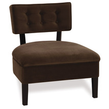 Avenue Six Button Back ArmlessLiving Room Lounge Accent Chair Chocolate ... - $149.00