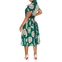 Casual Bow Tie Fit Flare Knee Length Green Short Sleeve Dress SMALL image 3