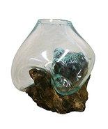 Large Hand Blown Molten Glass and Wood Root Sculptured Terrarium / Vase ... - $166.31