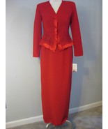 Red Formal Beaded Long Evening Suit Size 6 - $68.00