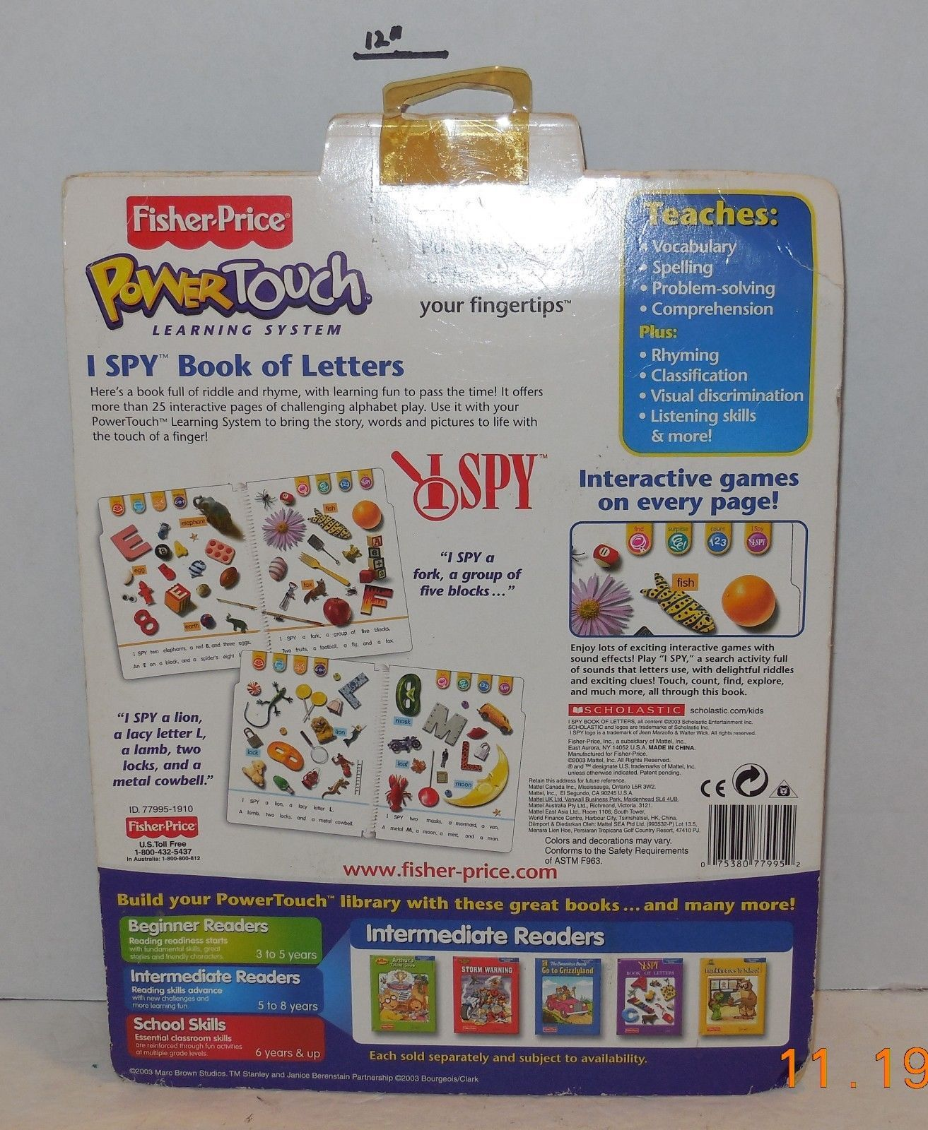 Cartridge I SPY Book of Letters Fisher Price and 45 similar