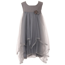 Gray Soft Tulle Babydoll Girl Dress with Two Tone Flower Brooches - $30.00