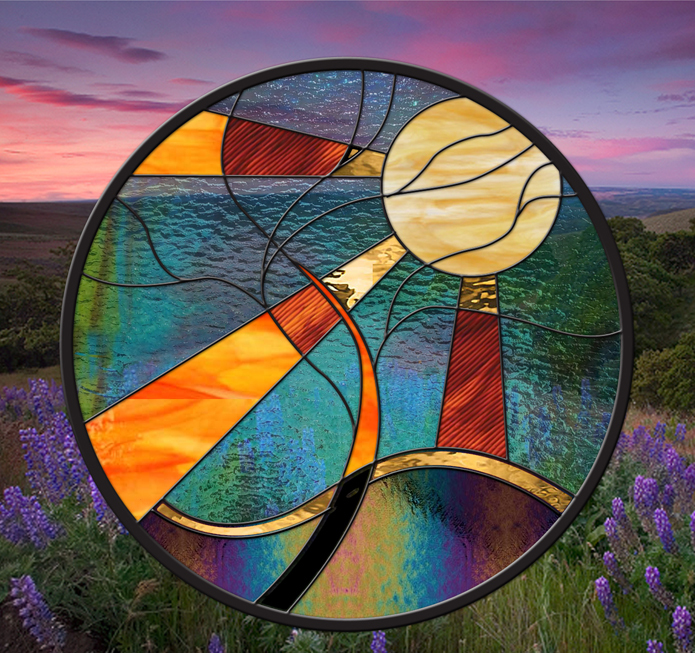 Stained Glass Window Panel Sun Tree round leaded glass panel