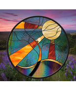 Stained Glass Window Panel Sun Tree round leaded glass panel - $197.00