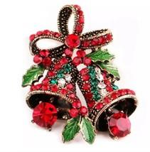 Stunning Diamonte Silver Plated Vintage Look Christmas Bells Brooch Cake Pin B12 - $8.79