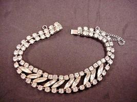 Weiss Vintage Rhinestone Bracelet Marquise Round Prong Set Safety Chain... - $29.65