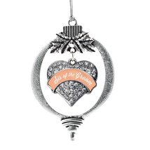 Inspired Silver Peach Sis of the Groom Pave Heart Holiday Decoration Christmas T - €12,73 EUR