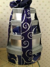 4 Stacked Silver & Blue & matching ribbon Boxes Tabletop Decor - $15.00