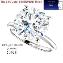 5.00 Carat Moissanite Forever One Solitaire Ring 14KGold (Charles&Colvard)  - $2,495.00